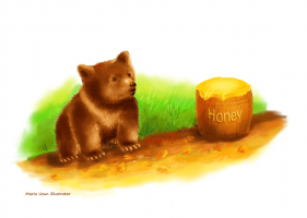 Bear and honey - by Maria Uzun